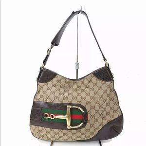 Authentic GUCCI hobo bag brown canvas & leather